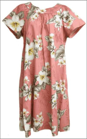Hibiscus Trends Coral - MuuMuu Hawaiian Cotton Dress - All Clothes Hawaiian