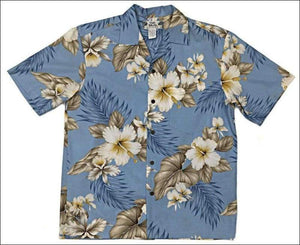 Hibiscus Trends Light Blue - Short Sleeve - 100% Cotton - All Clothes Hawaiian