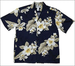 Hibiscus Trends Navy - Short Sleeve - 100% Cotton - All Clothes Hawaiian