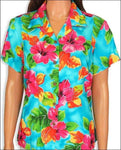 Hibiscus Watercolor Blue Blouse - 100% Rayon - All Clothes Hawaiian