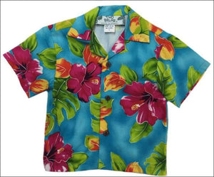 Hibiscus Watercolor Blue - Boys Rayon Hawaiian Shirt - All Clothes Hawaiian