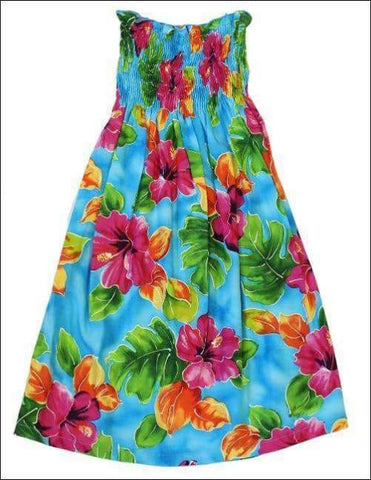 Hibiscus Watercolor Blue - Girl's Dress - 100% Rayon - All Clothes Hawaiian