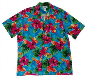 Hibiscus Watercolor Blue Hawaiian Aloha Rayon Shirt - All Clothes Hawaiian
