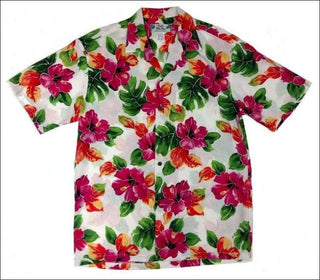 Hibiscus Watercolor White Hawaiian Aloha Rayon Shirt - All Clothes Hawaiian