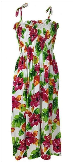 "Hibiscus Watercolor White - Tube Top 36"" Long - 100% Rayon - All Clothes Hawaiian"