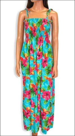 "Hibiscus Watercolors Blue - 45"" Tube Top Dress - 100% Rayon - All Clothes Hawaiian"