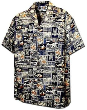 Hieroglyphic Navy Blue - 100% Cotton - All Clothes Hawaiian