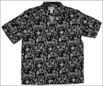 Hook Black Rayon Hawaiian Rayon Shirt - All Clothes Hawaiian