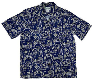 Hook Navy Hawaiian Rayon Shirt - All Clothes Hawaiian