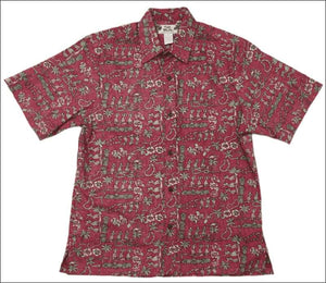 "Hula Girl Red Hawaiian Aloha Reverse ""Vintage"" Cotton Shirt - All Clothes Hawaiian"