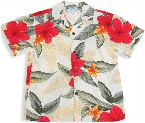 Leilani Cream - Boys Short Sleeve - 100% Rayon - All Clothes Hawaiian