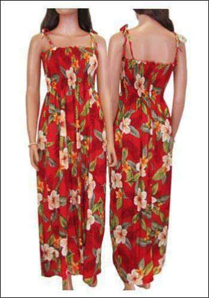 Leilani Red - Long Tube Top Rayon Dress - All Clothes Hawaiian