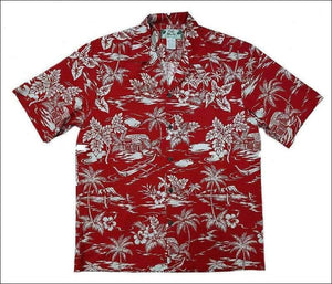 Love Shack in Red - Hawaiian Aloha Cotton Shirt - All Clothes Hawaiian