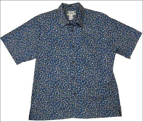 "Makalii Blue - Cotton Short Sleeve - Retro ""Vintage"" Print - All Clothes Hawaiian"