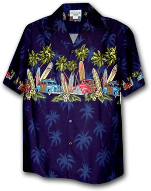 Manawa Pa'a Navy - 100% Cotton - All Clothes Hawaiian