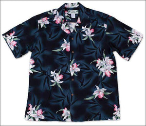 Midnight Orchid Black Hawaiian Aloha Rayon Shirt - All Clothes Hawaiian