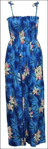 "Midnight Orchid Blue - 45"" Rayon Tube Top Dress - All Clothes Hawaiian"