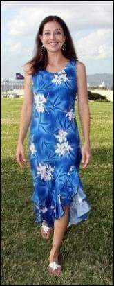 Midnight Orchid Blue - Mid Length Dress - 100% Rayon - All Clothes Hawaiian