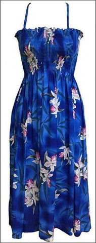 "Midnight Orchid Blue - Rayon Tube Top Dress 36"" Long - All Clothes Hawaiian"