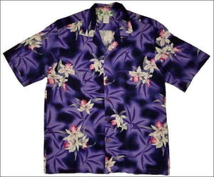 Midnight Orchid Purple Hawaiian Aloha Rayon Shirt - All Clothes Hawaiian