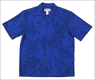 Monstera Blue- Hawaiian Aloha Cotton Shirt - All Clothes Hawaiian
