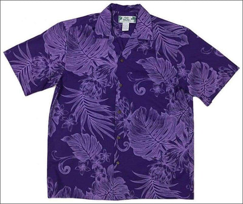 Monstera Ceres Purple Hawaiian Aloha Cotton Shirt - All Clothes Hawaiian