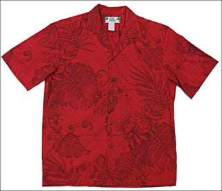 Monstera Ceres Red Aloha Cotton Shirt - All Clothes Hawaiian