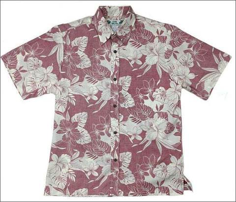 "Monstera Orchid Red Short Sleeve - Retro-""Vintage"" - All Clothes Hawaiian"