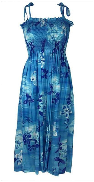 "Moonlight Scenic Blue - 36"" Tube Top Dress - 100% Rayon - All Clothes Hawaiian"