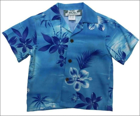 Moonlight Scenic Blue (Boys) Short Sleeve - 100% Rayon - Made in HI - All Clothes Hawaiian