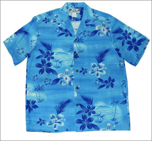 Moonlight Scenic Blue - Hawaiian Aloha Rayon Shirt - All Clothes Hawaiian