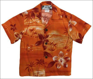 Moonlight Scenic Orange (Boys) Short Sleeve - 100% Rayon - All Clothes Hawaiian