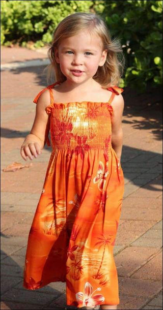Moonlight Scenic Orange - Elastic Tube Top Girls Dress - 100% Rayon - All Clothes Hawaiian