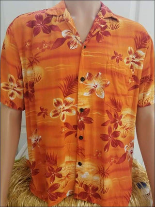 Moonlight Scenic Orange - Hawaiian Aloha Rayon Shirt - All Clothes Hawaiian