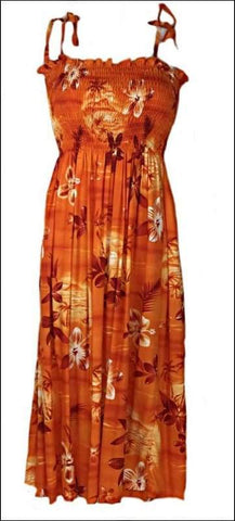 Moonlight Scenic Orange - Long Tube Top Dress - 100% Rayon - All Clothes Hawaiian
