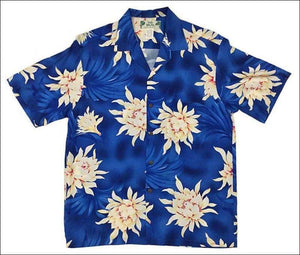 Night Blooming Blue Orchid - Hawaiian Aloha Rayon Shirt - All Clothes Hawaiian