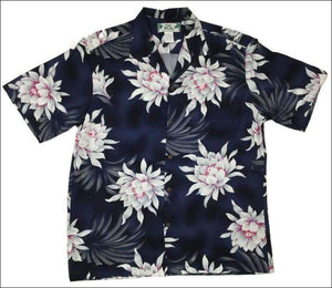 Night Blooming Orchid on Black - Aloha Rayon Shirt - All Clothes Hawaiian