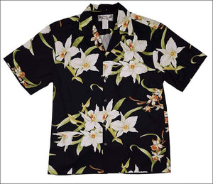 Orchid Black - Hawaiian Aloha Cotton Shirt - All Clothes Hawaiian