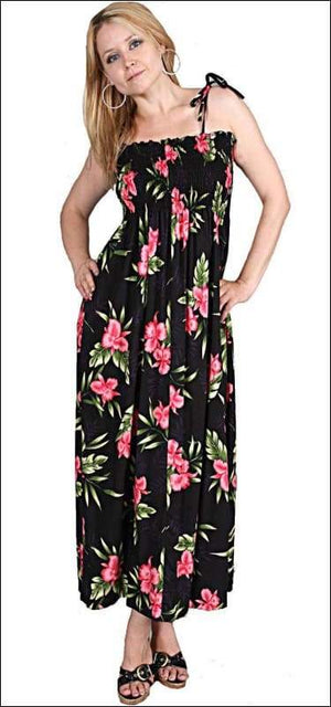 "Orchid Fern Black - 45"" Tube Top Dress - 100% Rayon - All Clothes Hawaiian"