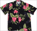 Orchid Fern Black - Boys Short Sleeve - 100% Rayon - All Clothes Hawaiian