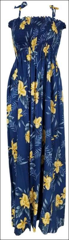 "Orchid Fern Blue - 45"" Tube Top Dress - 100% Rayon - All Clothes Hawaiian"