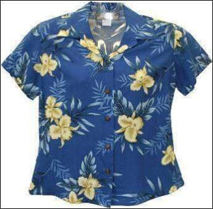 Orchid Fern Blue Blouse - 100% Rayon - All Clothes Hawaiian