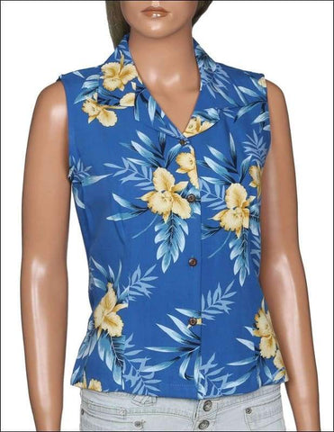 Orchid Fern Blue - Sleeveless Blouse - 100% Rayon - All Clothes Hawaiian