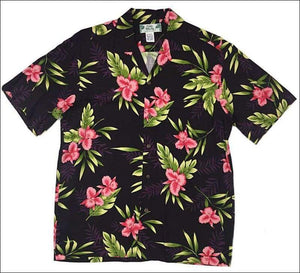 Orchid Fern in Black - Hawaiian Aloha Rayon Shirt - All Clothes Hawaiian