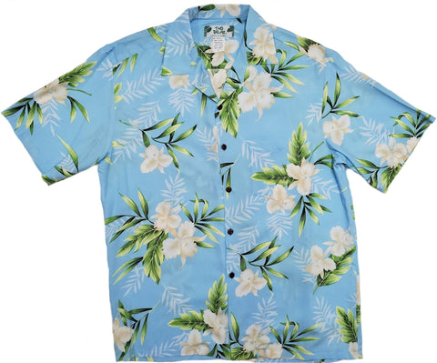 Orchid Fern Light Blue Hawaiian Rayon Shirt - All Clothes Hawaiian