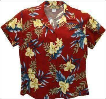 Orchid Fern Red Blouse - 100% Rayon - All Clothes Hawaiian