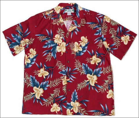 Orchid Fern Red - Hawaiian Aloha Rayon Shirt - All Clothes Hawaiian