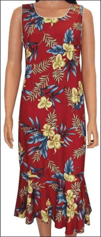 Orchid Fern Red - Mid Length Dress - 100% Rayon - All Clothes Hawaiian