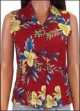 Orchid Fern Red - Sleeveless Blouse - 100% Rayon - All Clothes Hawaiian