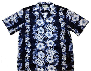 Pacific Panel Navy Hawaiian Aloha Cotton Shirt - All Clothes Hawaiian